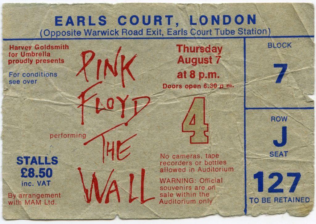 Entrada al concierto de Pink Floyd the Wall