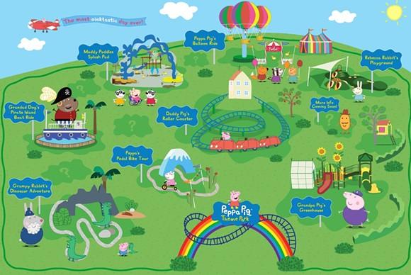 Mapa de las atracciones previstas de Legoland Peppa Pig.  - Imagen a través del PARQUE TEMÁTICO PEPPA PIG