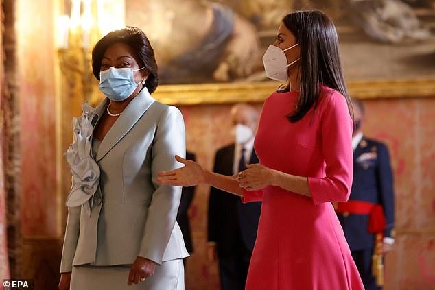 Dando prioridad a la seguridad, tanto la madre de dos hijos como la primera dama de Angola se cubrieron la cara mientras caminaban por el palacio real.