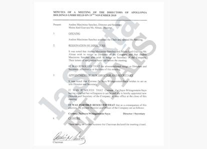 Documento de Apollonia Holdings.  El País / La Sixta / ICIJ